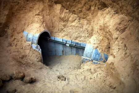 The entrance to a tunnel exposed by the Israeli military is seen on the Israeli side of the Israel-Gaza border March 27, 2014. The Israeli Defence Forces (IDF) announced that they exposed the tunnel on March 21, 2014.