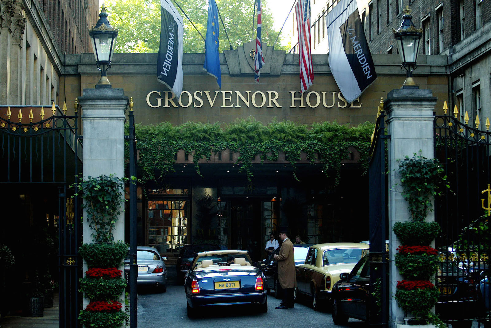 THE ENTRANCE TO THE GROSVENOR HOUSE HOTEL IS SEEN IN PARK LANE IN LONDON.