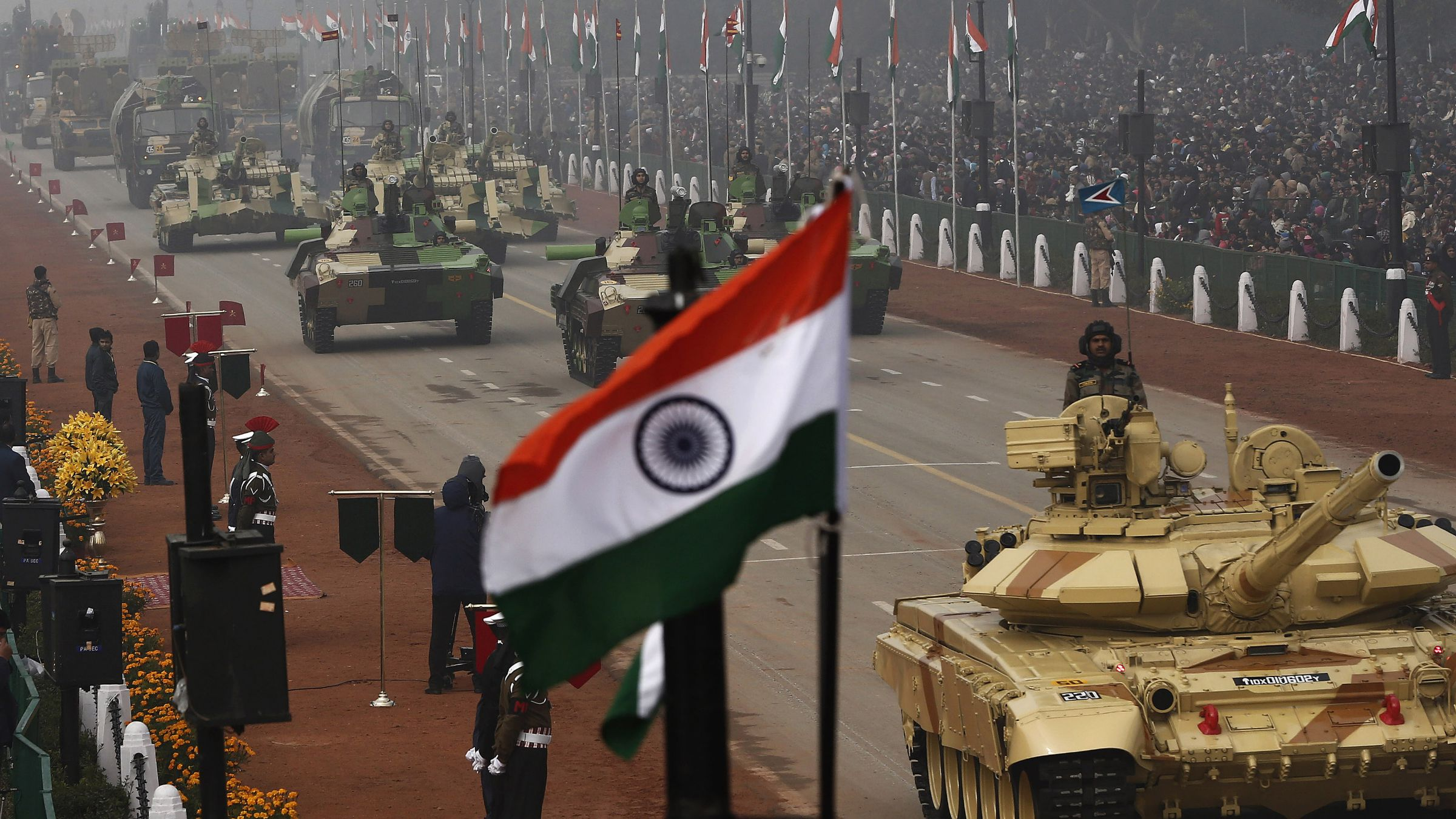 Indian Army's Arjun MK-I tanks (MBTs) are driven for display during the Republic Day parade in New Delhi January 26, 2014. India celebrated its 65th Republic Day on Sunday.