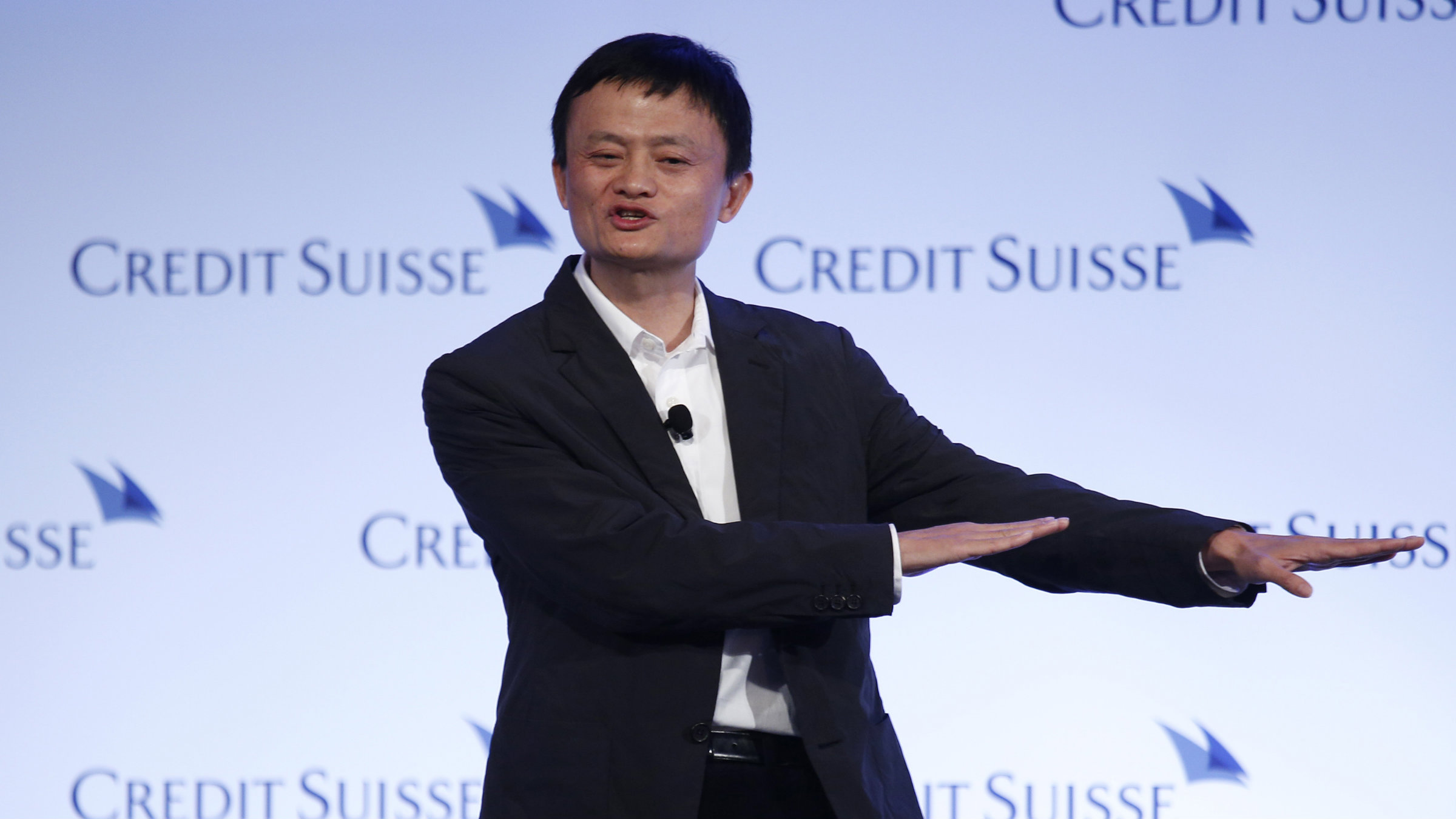 Jack Ma, chairman of China's largest e-commerce firm Alibaba Group, gestures during a conference in Hong Kong.