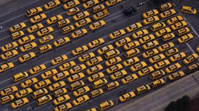 Line of taxis in lot