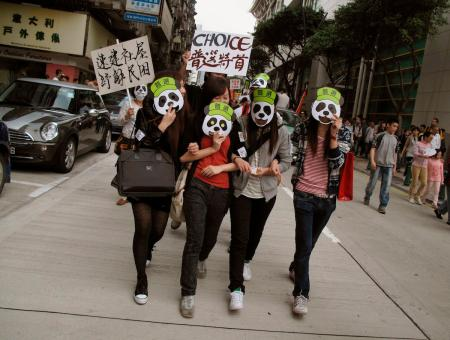 Protesters wearing panda masks take part in a protest march in Macau on the anniversary of the territory's handover to China December 20, 2010