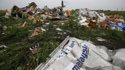 The scene at the crash of Malaysian Airlines flight 70 on July 21, 2014.