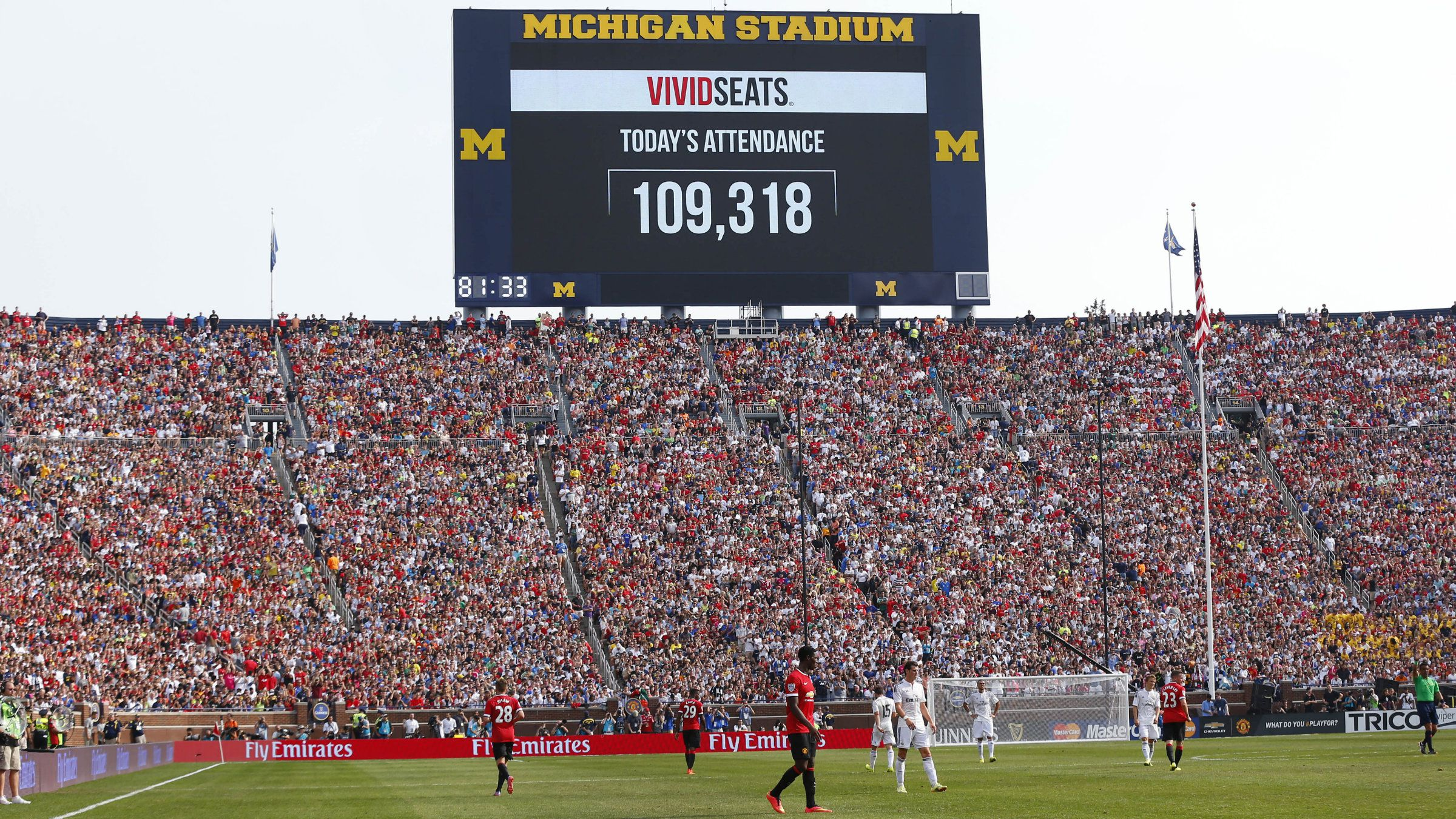 The scoreboard announces attendance of 109,318 during a Guinness International Champions Cup soccer match between Real Madrid and Manchester United at Michigan Stadium