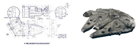 Millenium Falcon model and drawings