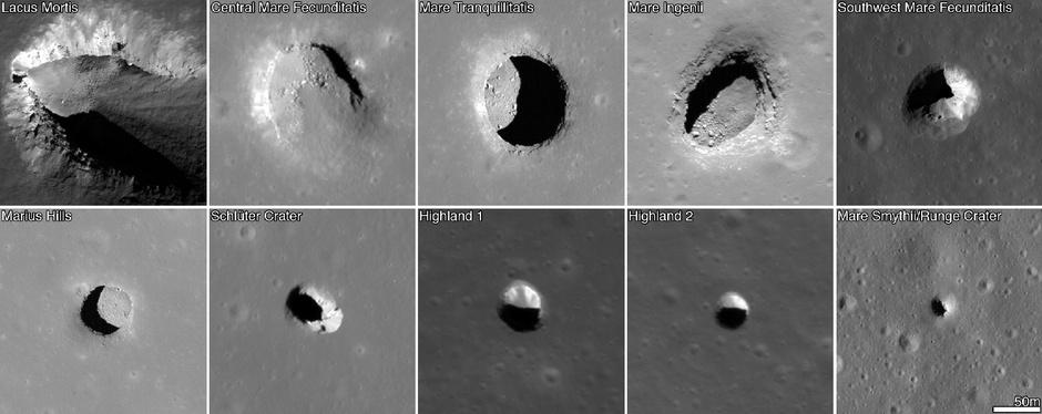 Graphic showing different moon pits and craters