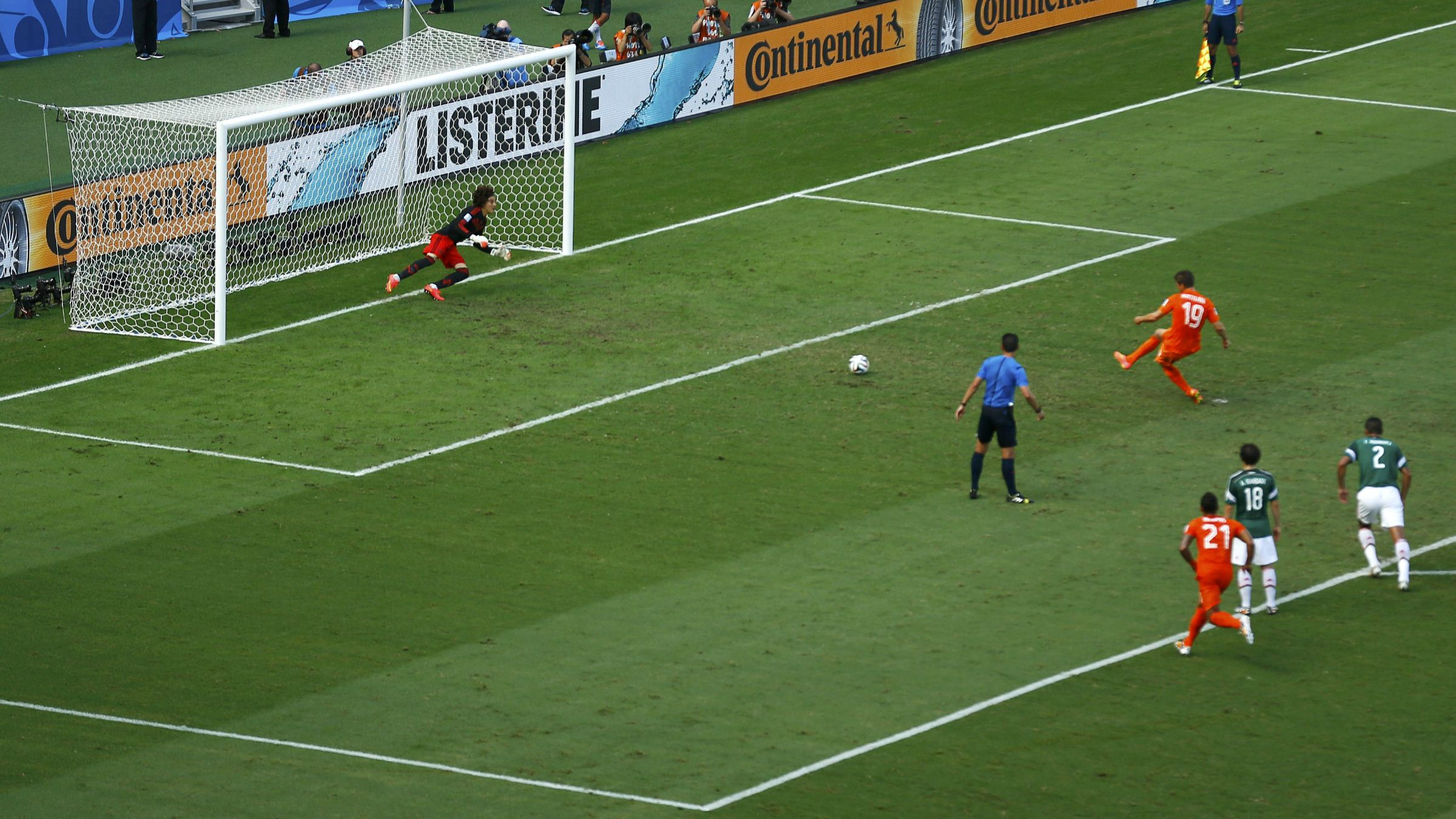 Netherlands penalty kick against Mexico at the World Cup