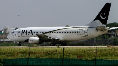 Pakistan International Airline plane is parked in Islamabad.