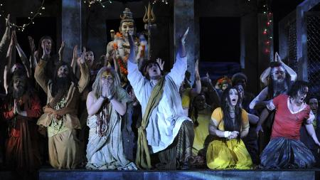 "Freddie Tong, who portrays Nourabad (3rd L), Quinn Kelsey, who portrays Zurga (4th L), Hanan Alattar, who portrays Leila (2nd R), and Alfie Boe, who portrays Nadir (R), perform during a dress rehearsal for the new production of Georges Bizet's ""The Pearl Fishers"" at the English National Opera in London May 28, 2010. REUTERS/Dylan Martinez pearl fishers bizet opera racism"