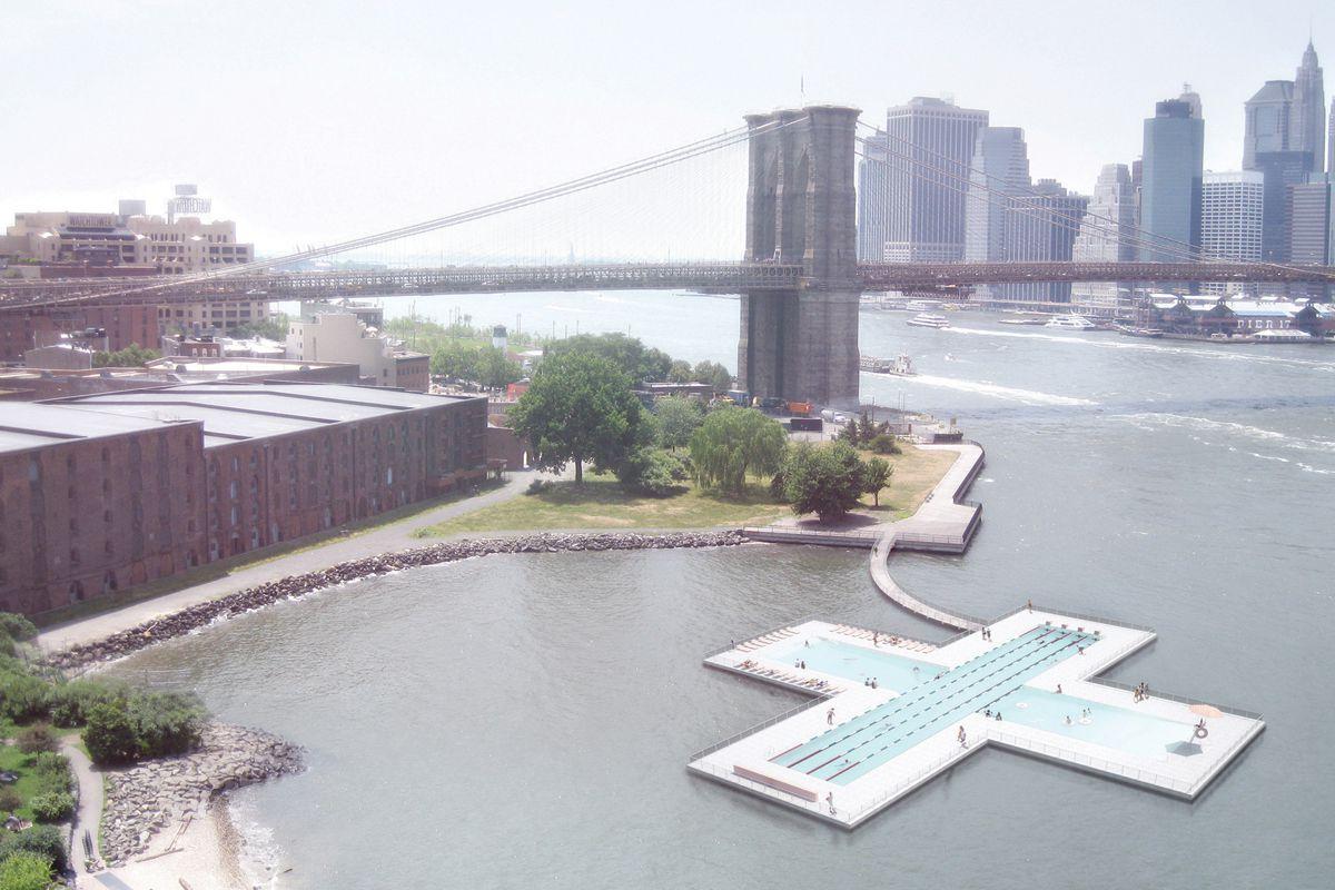 A rendering of +Pool docked in Williamsburg, Brooklyn