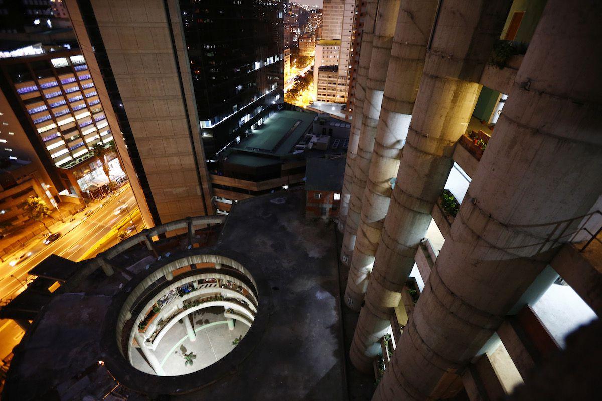 The lobby of Torre David, a vertical slum in Caracas