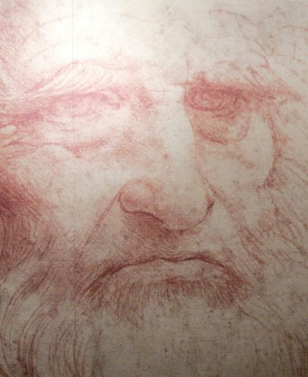 "A Leonardo da Vinci self-portrait drawn around 1515 or 1516, during the inauguration of the exhibition ""Leonardo da Vinci, the European Genius"" in Brussels, August 17, 2007."