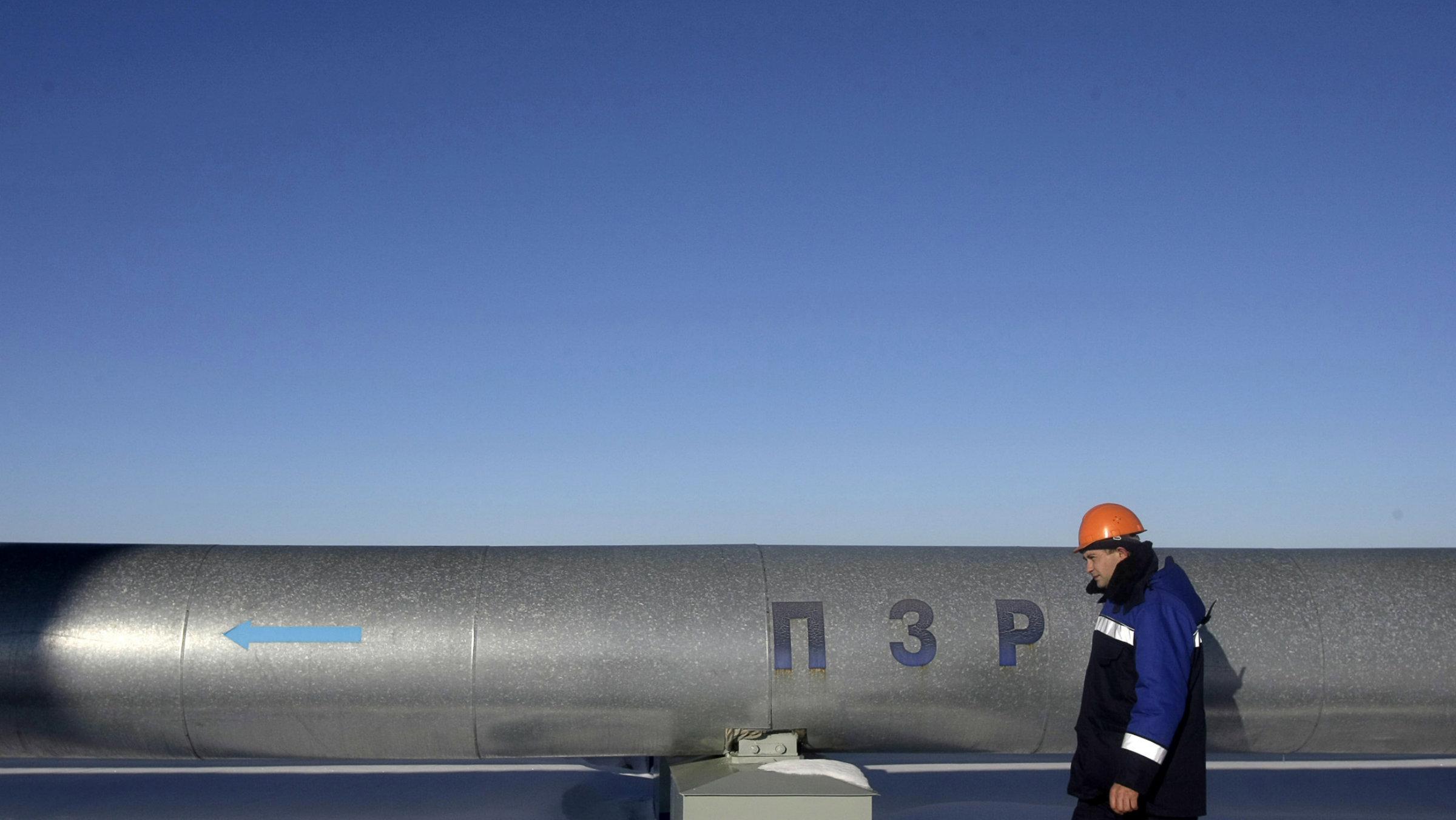 An employee walks at Russian gas export monopoly Gazprom's Sudzha pumping station.