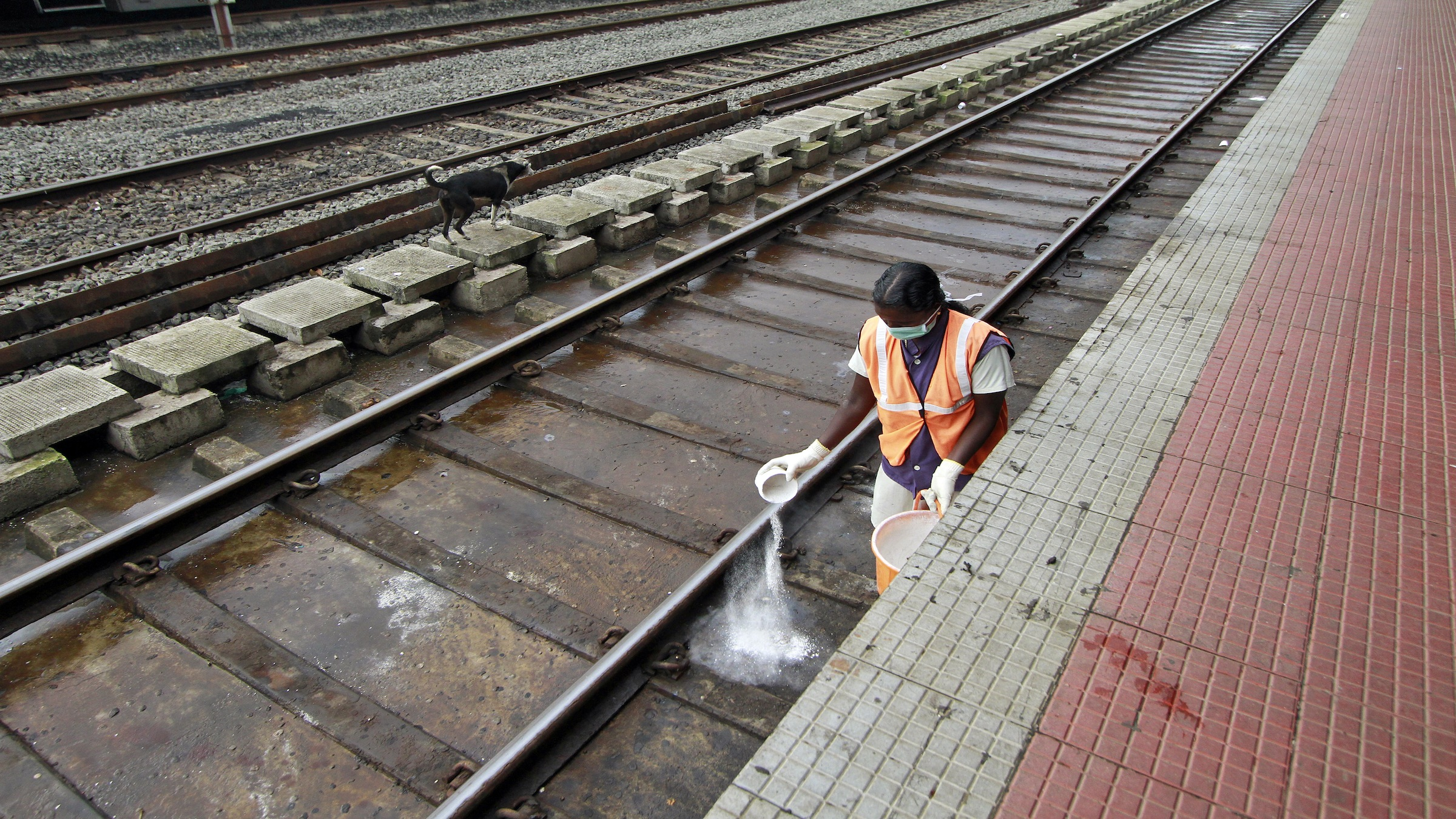 The waste dumped by the trains corrodes tracks.