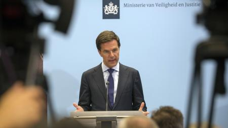 Dutch prime minister Mark Rutte speaks at a news conference about tge Malaysian Airlines crash in The Hague on July 18.