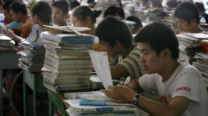 Students in China review for their college entrance examination.