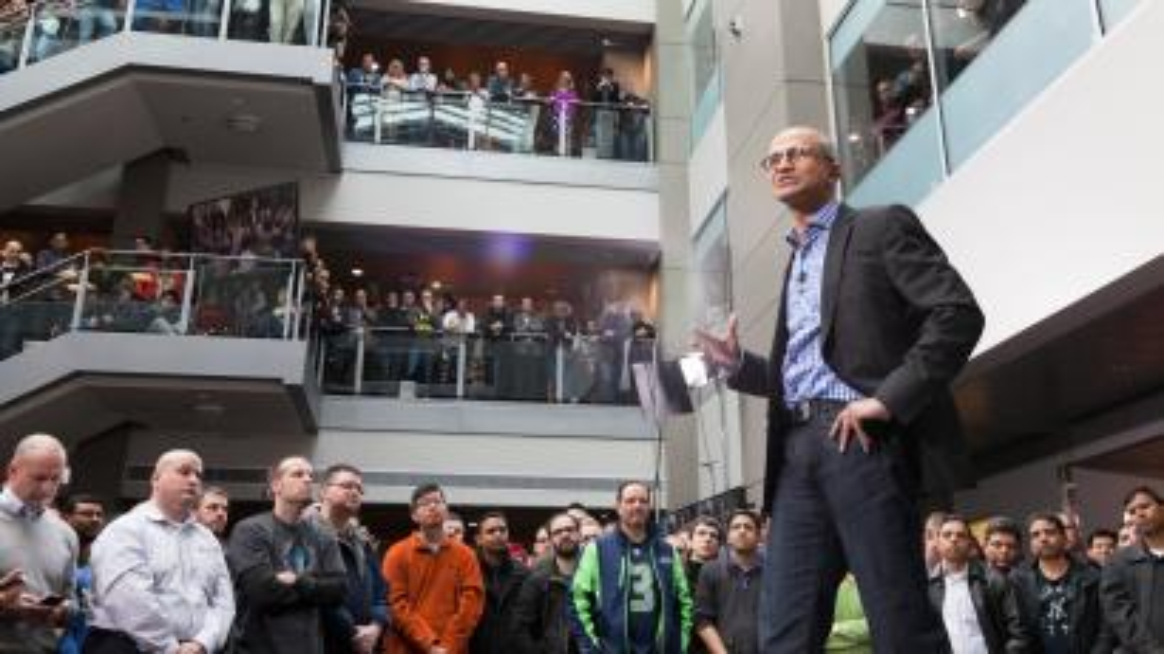 Microsoft CEO Satya Nadella speaks to employees
