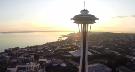 Space Needle drone video