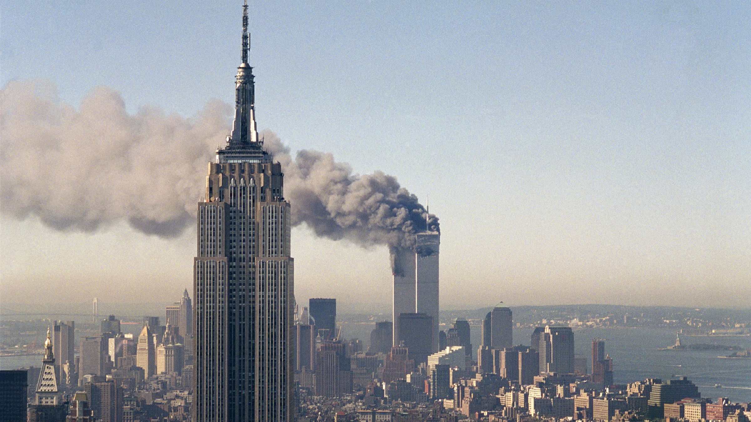 Picture of World Trade Center buildings on fire.