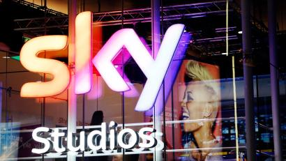 A projection of singer Emeli Sande is seen in the Sky television studios booth during the BRIT Awards at the O2 Centre in London February 20, 2013. Picture taken February 20, 2013. REUTERS/Luke MacGregor (BRITAIN - Tags: ENTERTAINMENT MEDIA) (BSKYB) - RTR3E4LZ