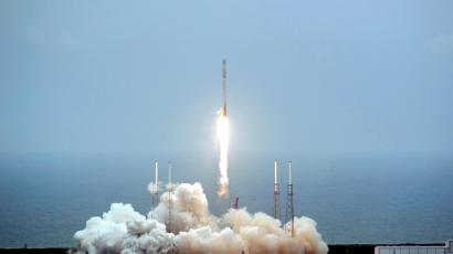 An unmanned Falcon 9 rocket blasts off from Cape Canaveral Air Force Station in this handout photo provided by NASA in Cape Canaveral, Florida April 18, 2014. The rocket, built and operated by privately owned Space Exploration Technology, was to deliver a cargo capsule to the International Space Station for NASA.