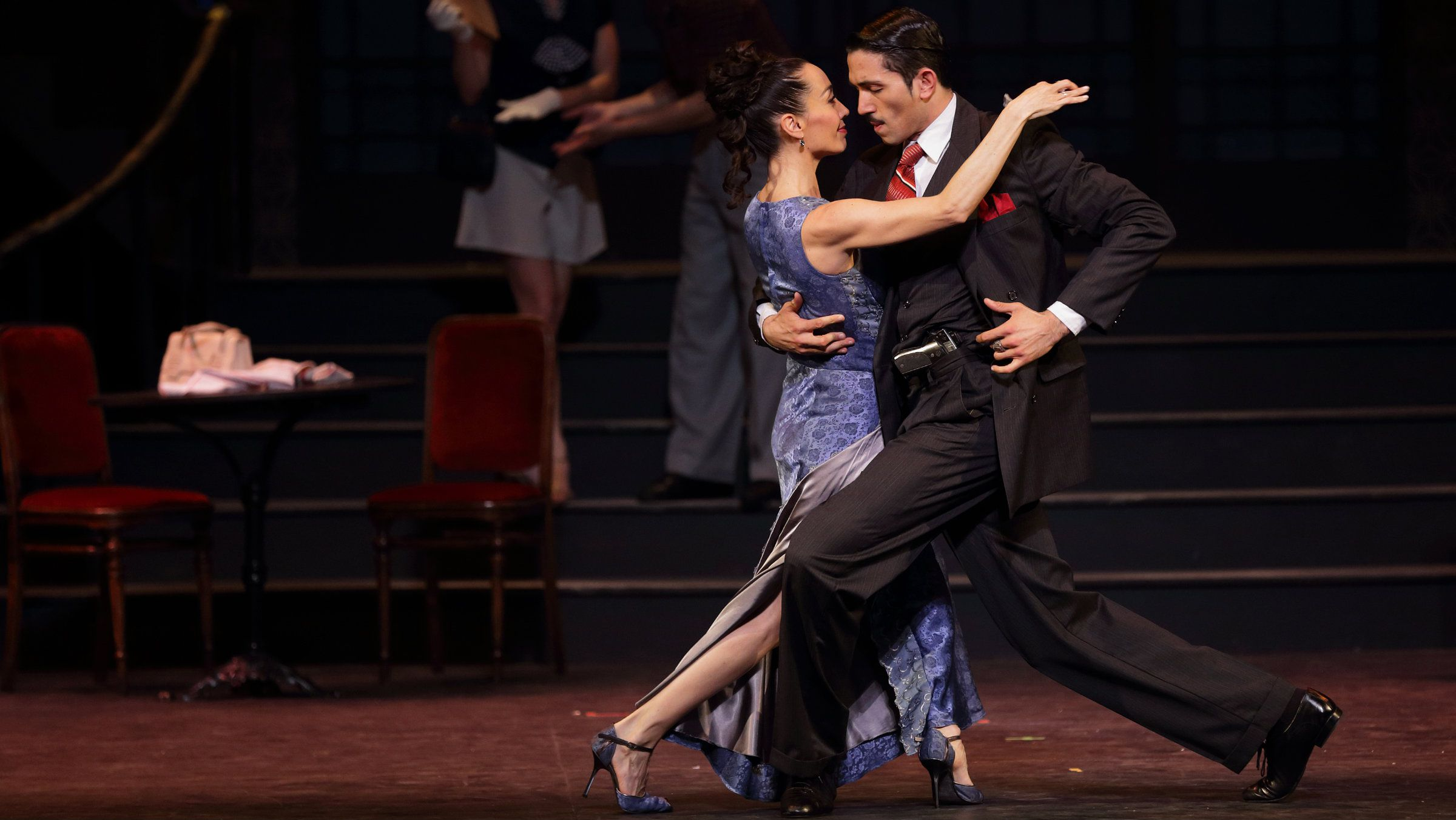 """Choreographer and dancer Mora Godoy (L) and dancer Marcos Ayala perform during a general rehearsal of the show """"Chantecler Tango"""" at the Chatelet theatre in Paris, October 8, 2013. The tango musical, dedicated to the Cabaret Chantecler, one of the legendary cabaret of Buenos Aires, will play from October 9 to November 3, 2013. Picture taken October 8, 2013. REUTERS/Philippe Wojazer"""