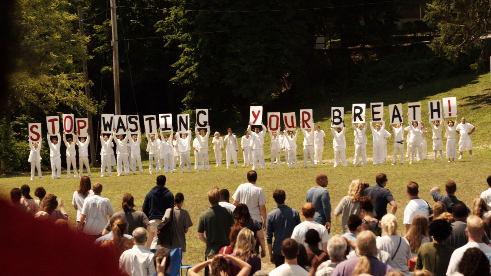 A scene from the series premiere of HBO's The Leftovers.