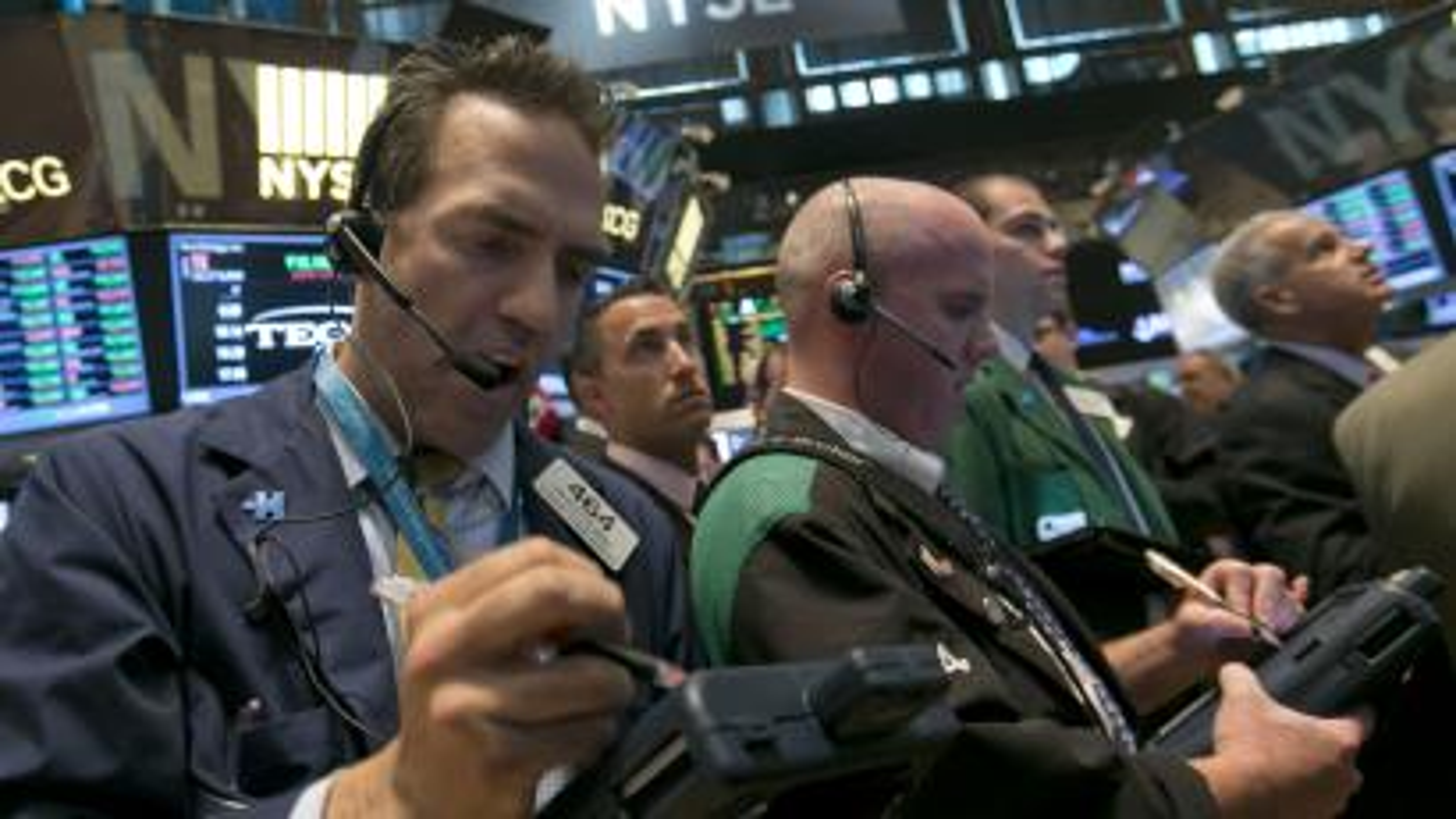 Traders at stock market