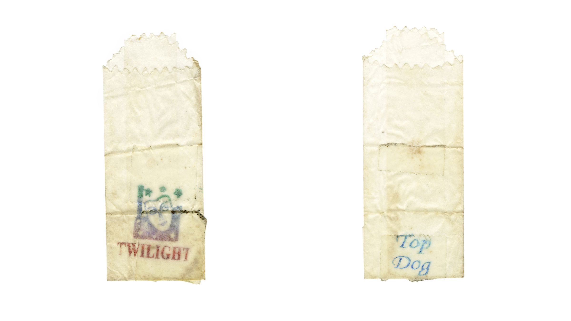 Two heroin baggies branded under the street names Twilight and Top Dog