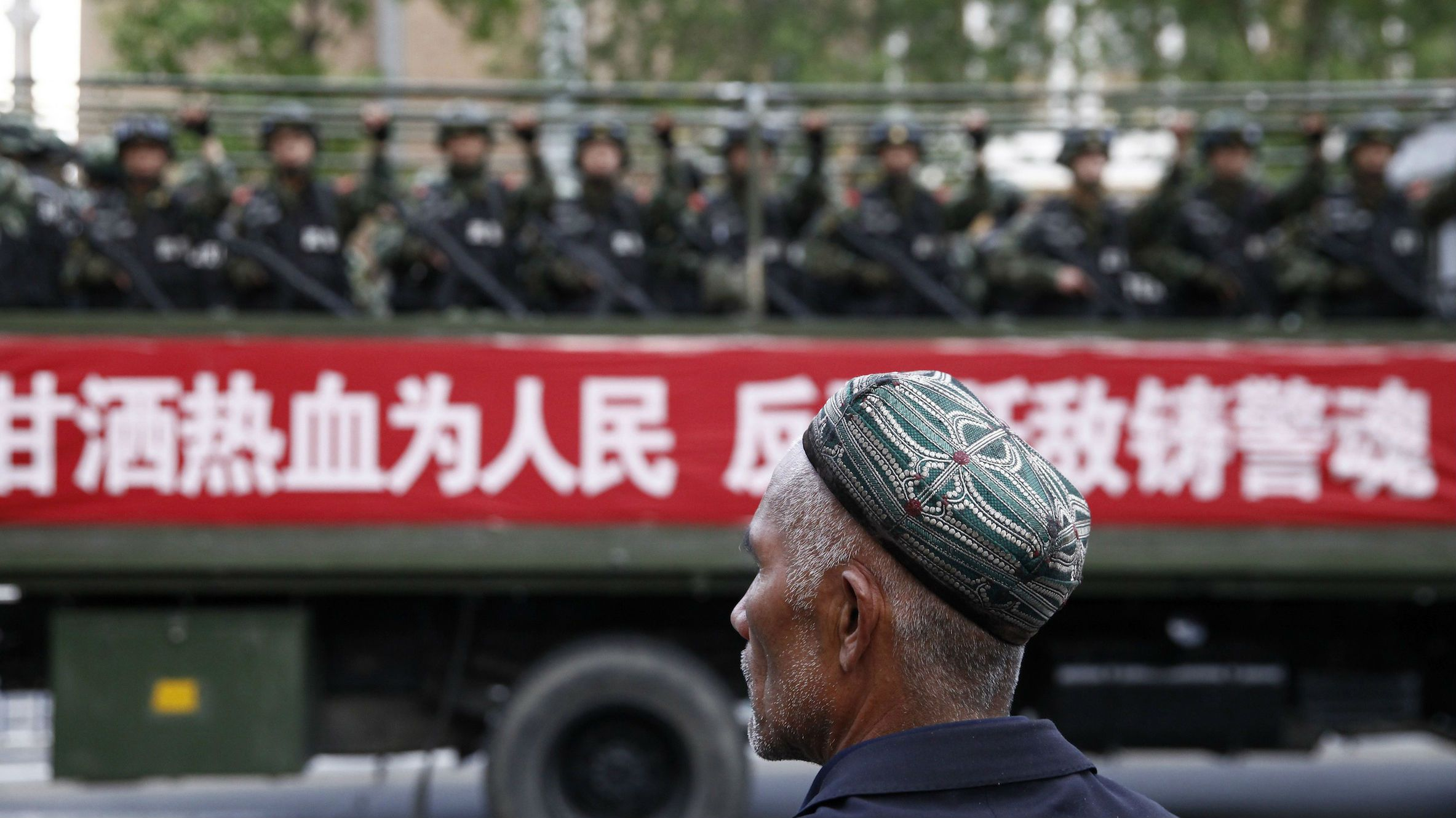 hinese police shot dead dozens of knife-wielding attackers on Monday morning after they staged assaults on two towns in the western region of Xinjiang, the official Xinhua news agency said on Tuesday.