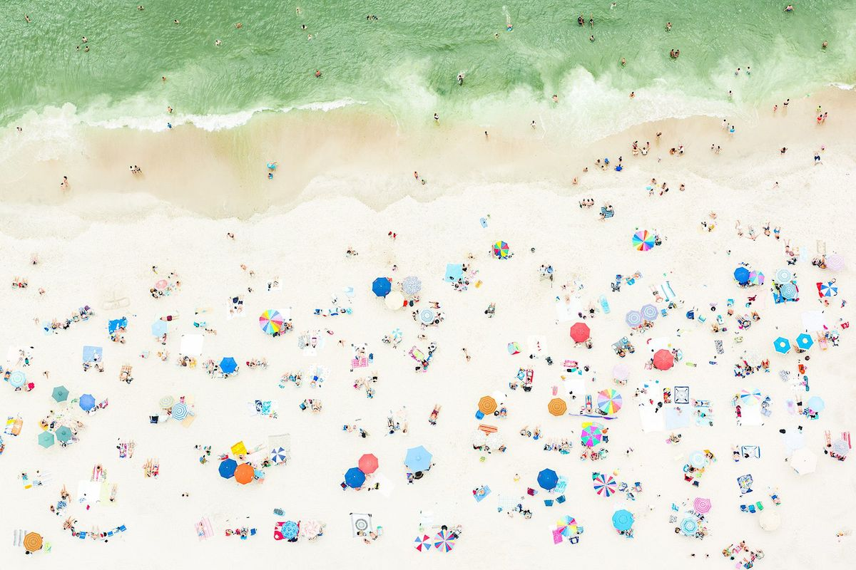 Aerial photo of a beach in the Hamptons, New York