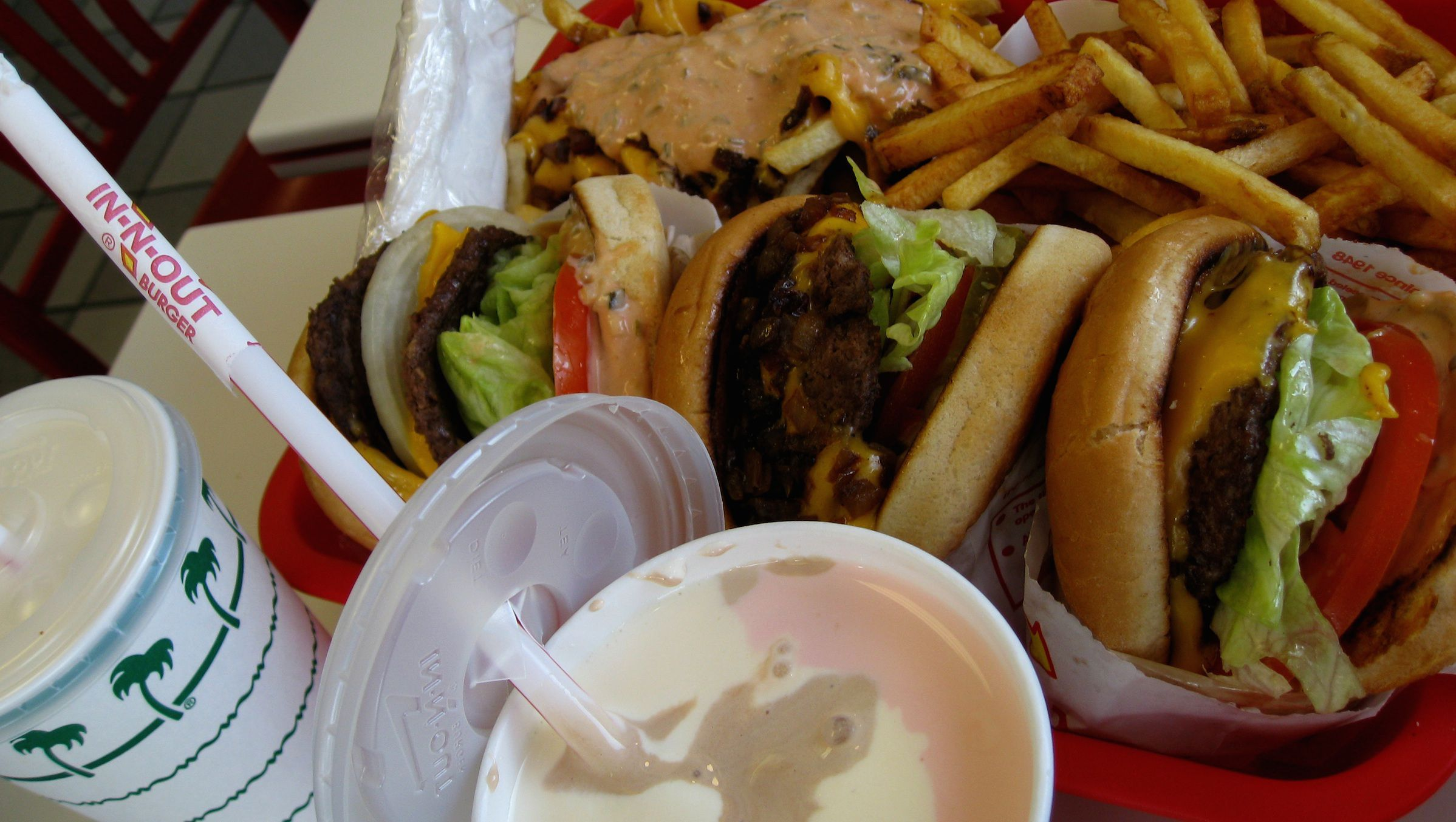 "Animal-style fries and burgers, ""well-done"" fries, and a Neapolitan milkshake from In-N-Out Burger"