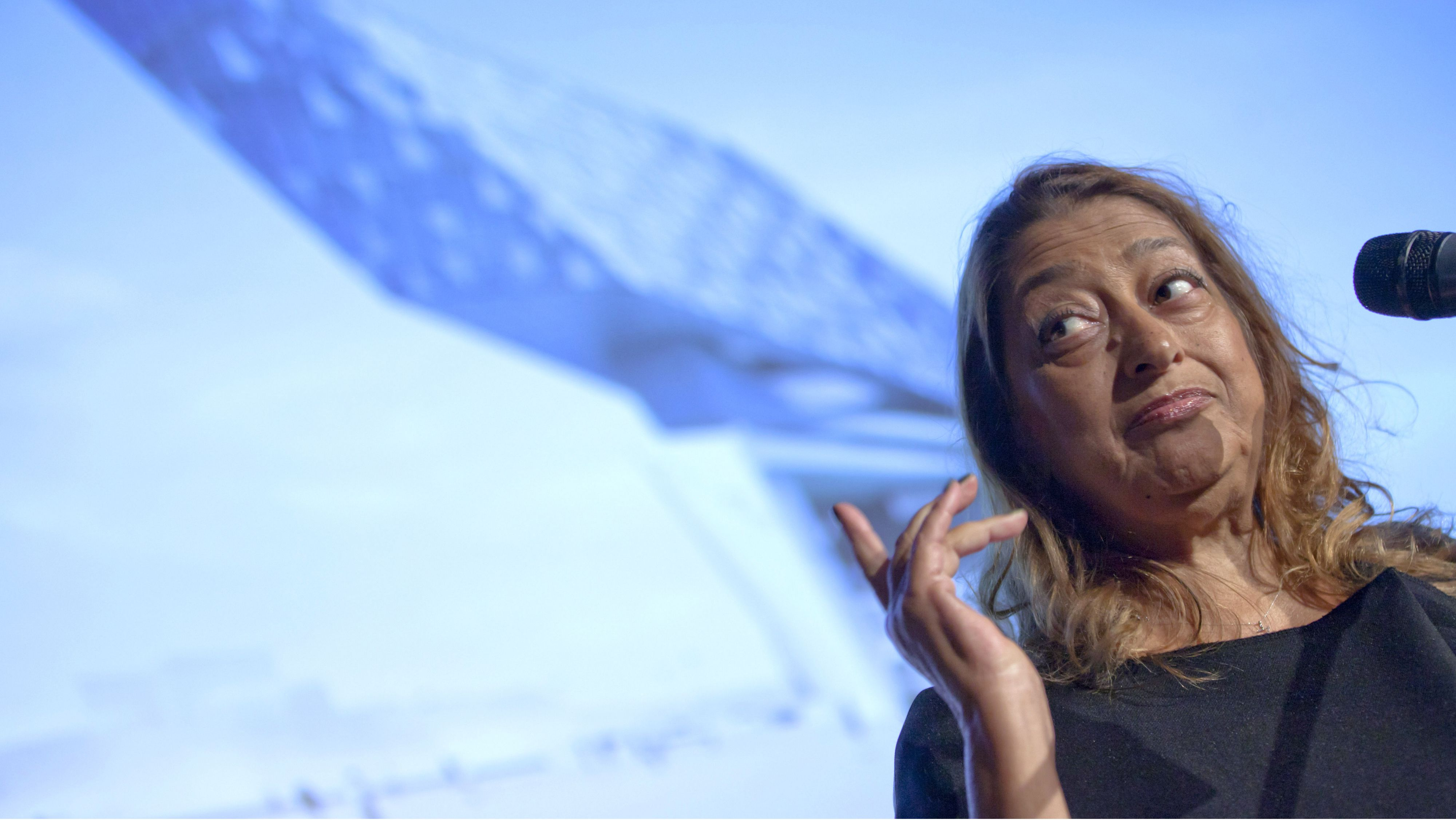 The architect Zaha Hadid at a news conference in Belgium in 2012