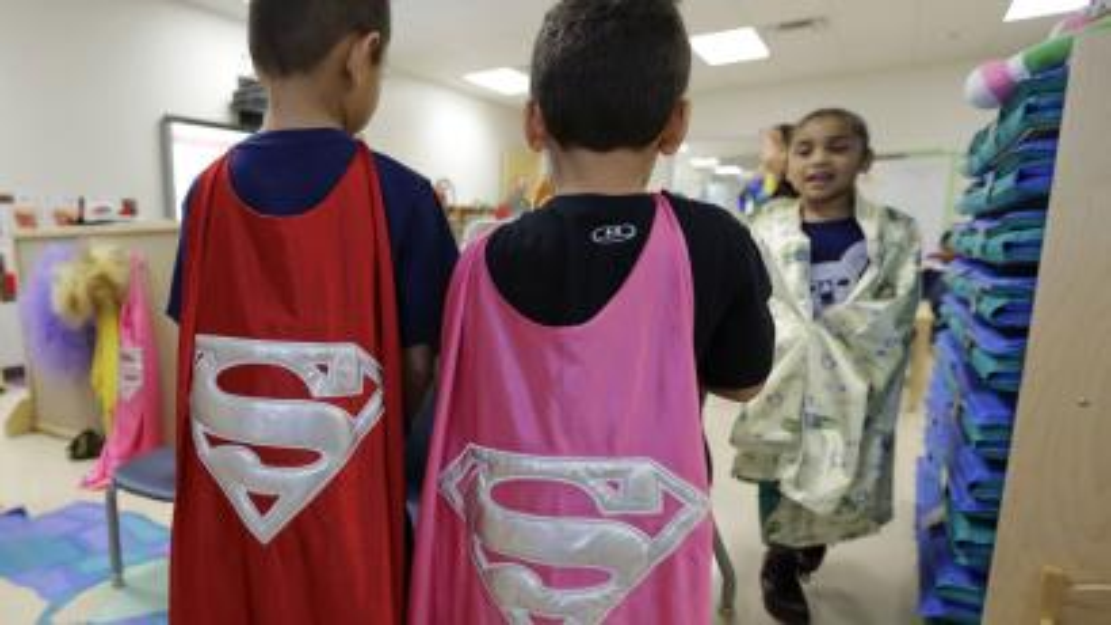 Kids dressed up as Superman
