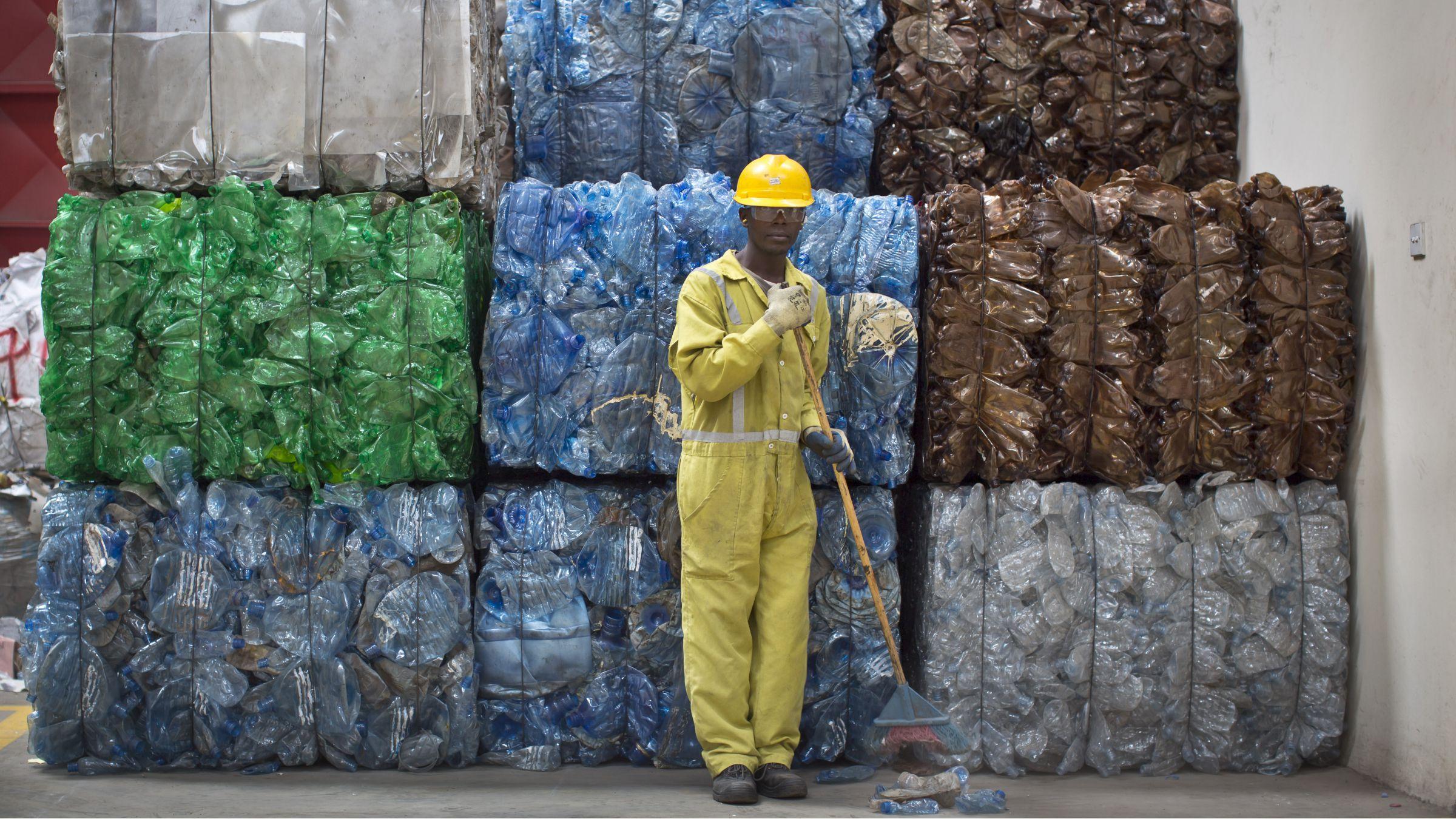 Bundles of plastic waste in Kenya