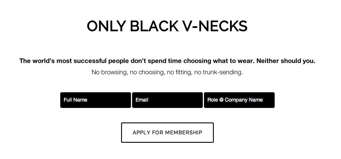 black vclub startup will sell only black vnecks