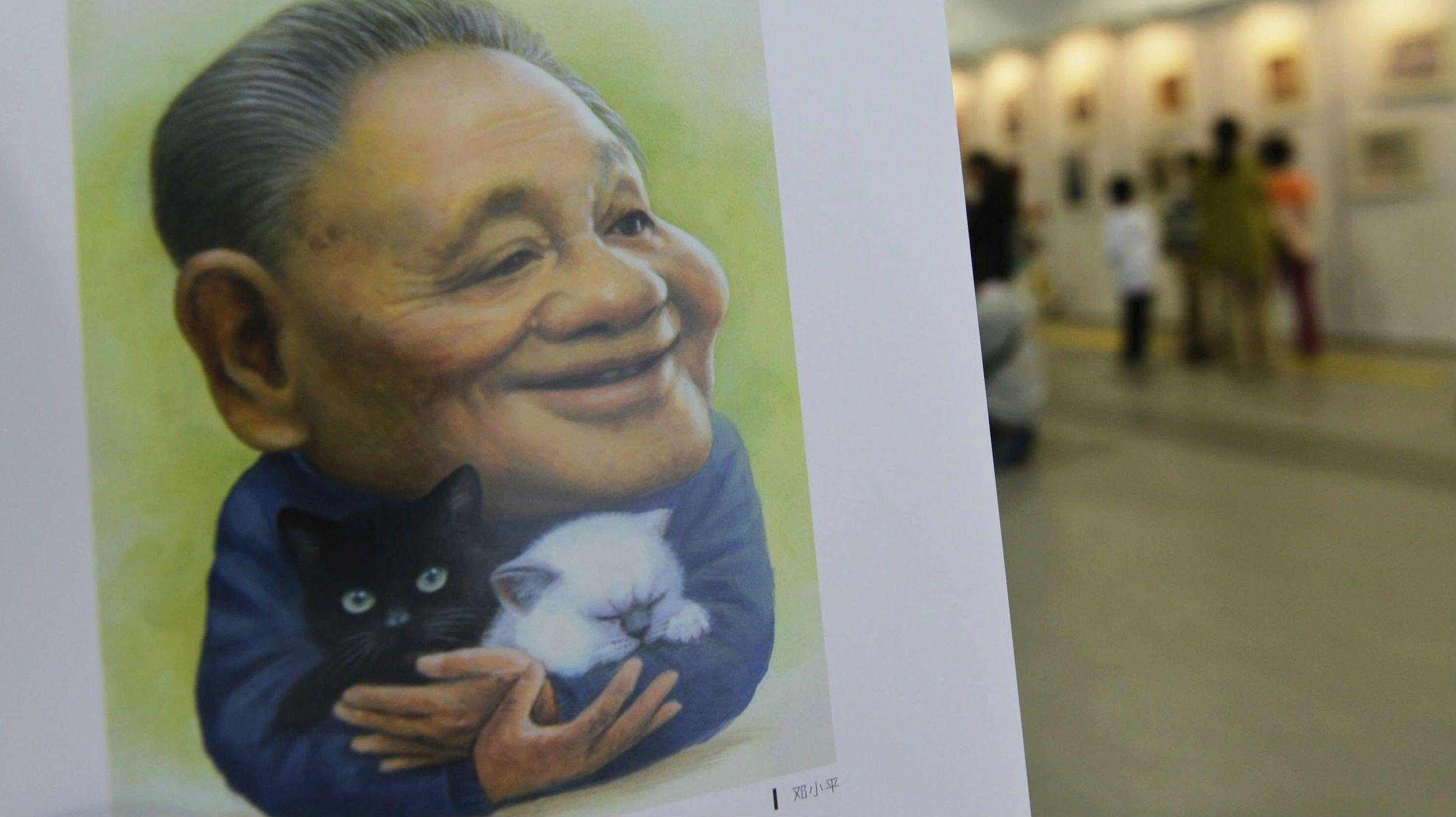 A portrait by cartoonist Zhu Zizun of China's late leader Deng Xiaoping