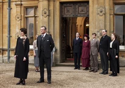"This undated publicity photo provided by PBS shows, from left, Elizabeth McGovern as Lady Grantham, Hugh Bonneville as Lord Grantham, Dan Stevens as Matthew Crawley, Penelope Wilton as Isobel Crawley, Allen Leech as Tom Branson, Jim Carter as Mr. Carson, and Phyllis Logan as Mrs. Hughes, from the TV series, ""Downton Abbey."" The show was nominated for a Golden Globe for best drama series on Thursday, Dec. 12, 2013. The 71st annual Golden Globes will air on Sunday, Jan. 12."