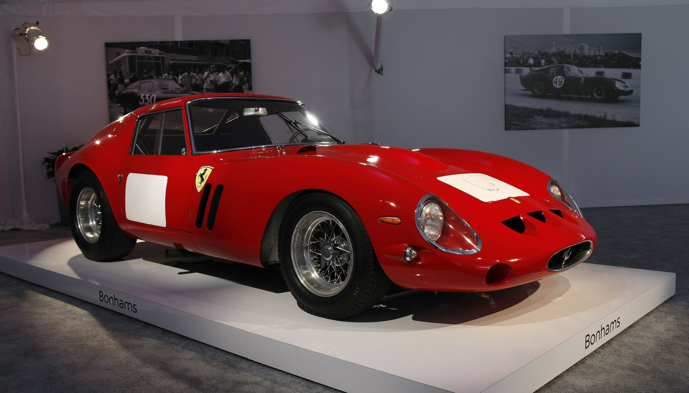 A 1962-63 Ferrari 250 GTO Berlinetta is displayed during a preview for the Bonhams Quail Lodge car auction in Carmel, California, August 14, 2014. The Ferrari GTO was auctioned at $38,115,000 becoming the most valuable car to be sold at auction according to Bonhams. The auction of collector cars is held during the Pebble Beach Automotive Week which culminates with the Concours d'Elegance. REUTERS/Michael Fiala (UNITED STATES - Tags: SOCIETY TRANSPORT BUSINESS) - RTR42HK6