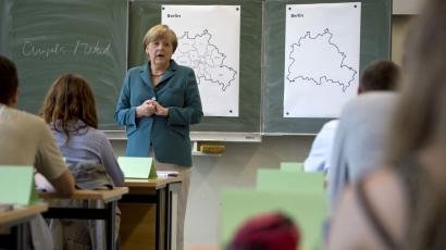 German Chancellor gives a lecture