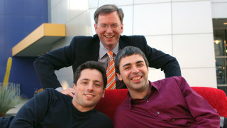 In this Jan. 15, 2004 file photo, Google CEO Eric Schmidt, top, and co-founders Sergey Brin, left, and Larry Page are seen at company headquarters in Mountain View, Calif. When Page and Brin founded Google Inc. on Sept. 7, 1998, they had little more than their ingenuity, four computers and an investor's $100,000 bet on their belief that an Internet search engine could change the world. (AP Photo/Ben Margot, file)