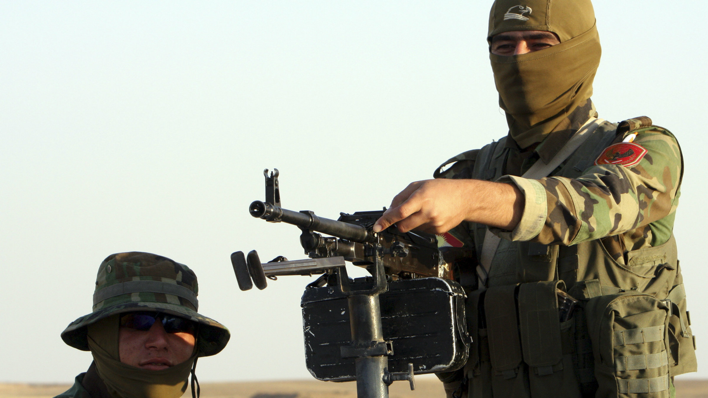 A Kurdish fighter on the front line against ISIL in Khazar on Aug. 14, 2014.