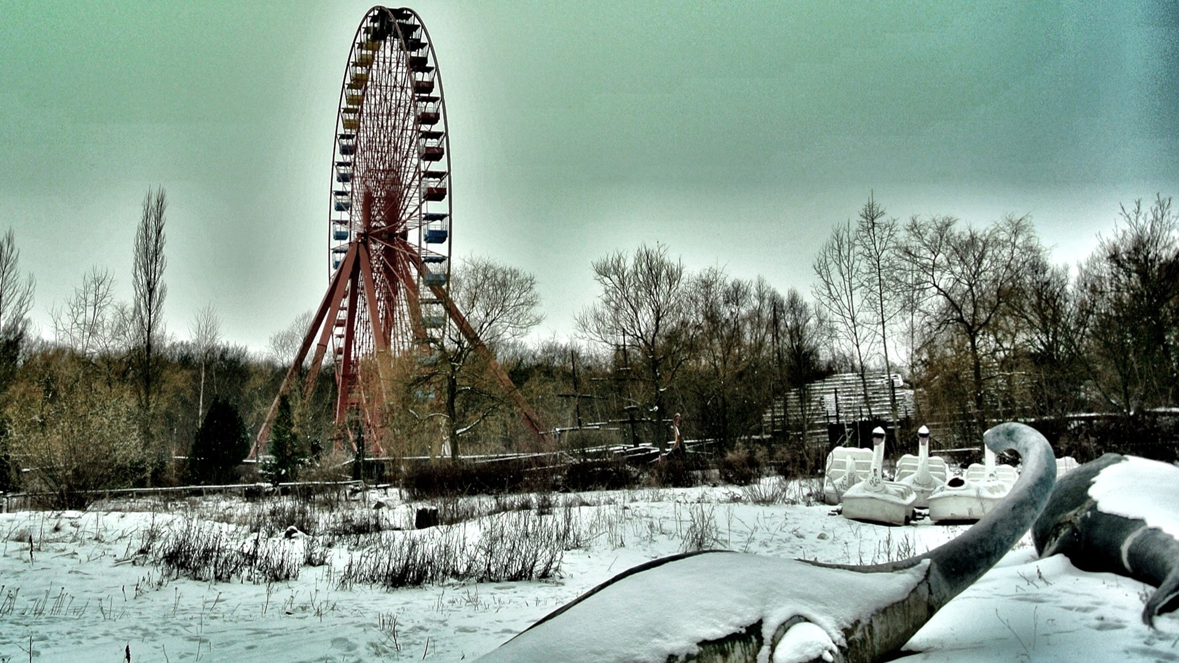 Berlin's abandoned Spreepark before it was destroyed in a fire.