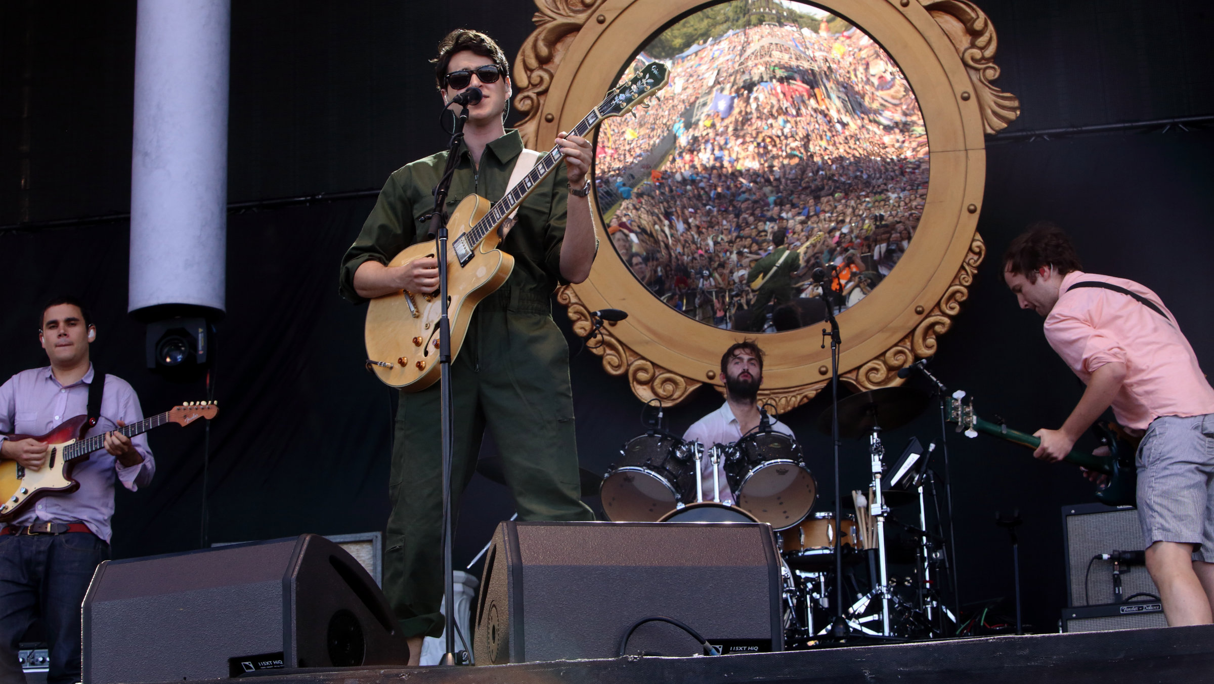 Rostam Batmanglij, Ezra Koenig, Chris Tomson, and Chris Baio with Vampire Weekend performs on day 1 of the 2013 Austin City Limits Music Festival