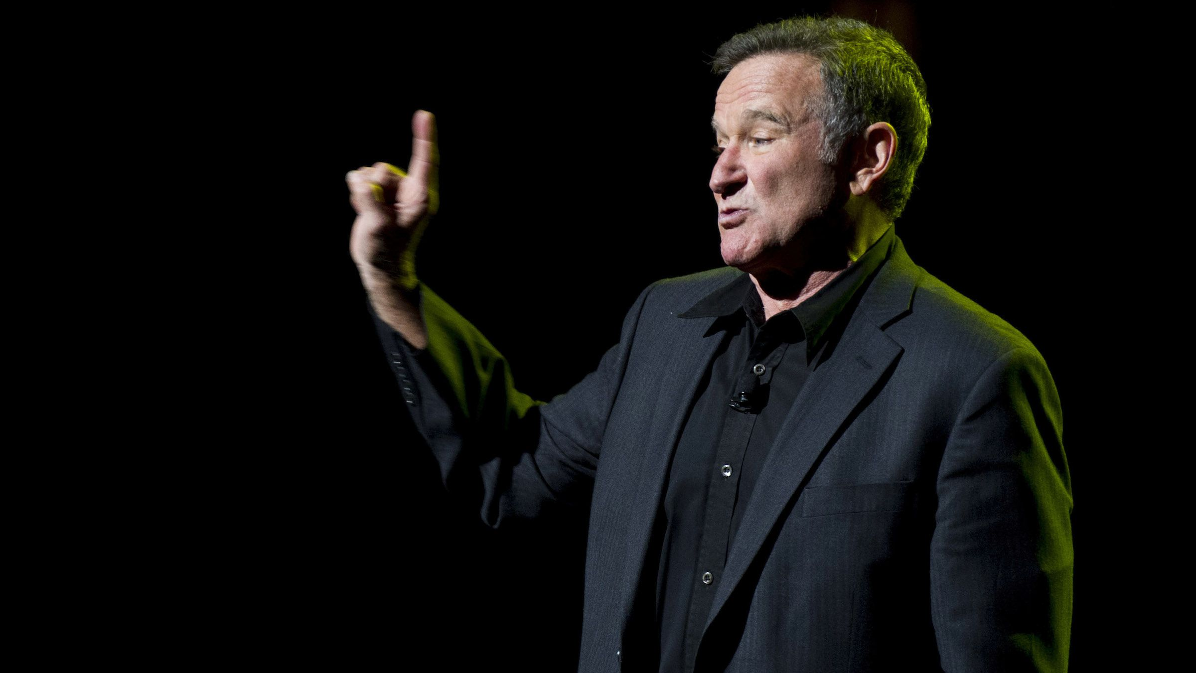 Robin Williams performs at the 6th Annual Stand Up For Heroes benefit concert for injured service members and veterans on Thursday, Nov. 8, 2012 in New York. (Photo by Charles Sykes/Invision/AP)