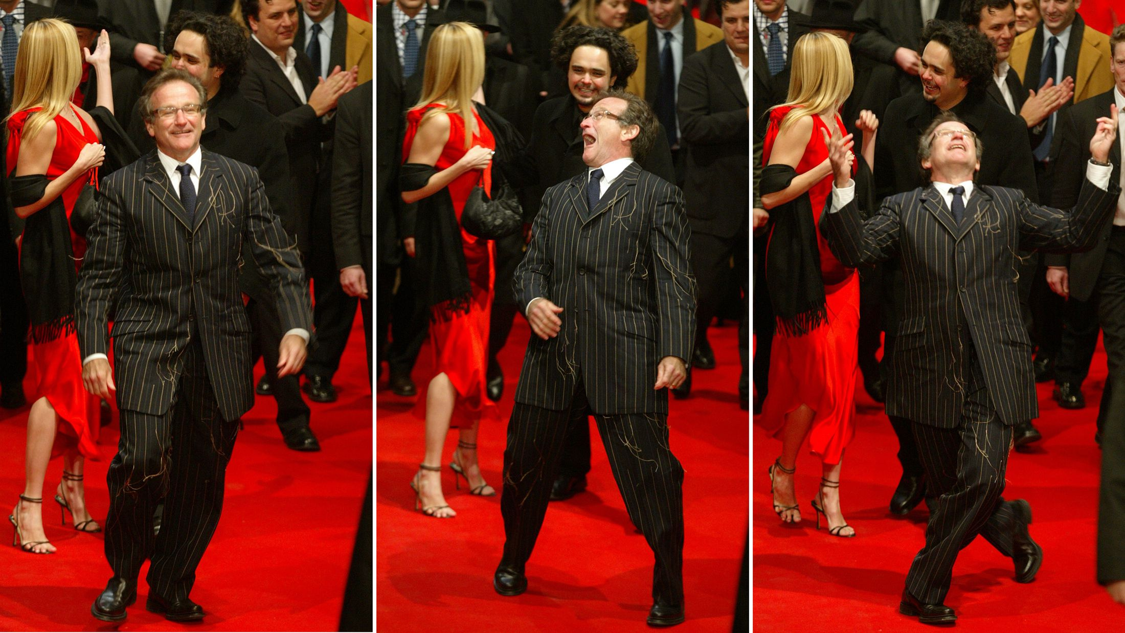 A combined picture shows Jordan director Omar Naim (2nd rowR) and U.S. actress Mira Sorvino (L) arriving behind U.S. actor Robin Williams (front) for the screening of their new movie 'The Final Cut' as part of the festival competition at the 54th Berlinale International Film Festival in Berlin February 11, 2004.