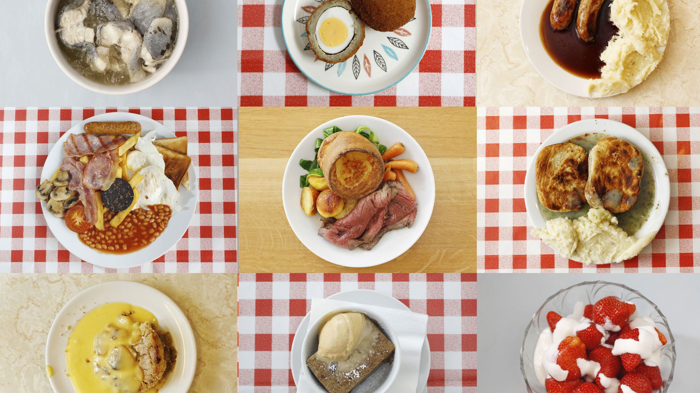Jellied eels (top row L-R), scotch eggs, bangers and mash (middle row L-R), a full English breakfast, roast beef and yorkshire pudding, pie and mash in liquor, crumble and custard (bottom row L-R), bread and butter pudding and strawberries and cream are seen in this combination photograph taken June 13, 2012. A menu of oddly named and sometimes oddly tasting traditional British dishes awaits adventurous diners visiting London for the Olympic Games this summer. REUTERS/Suzanne Plunkett (BRITAIN - Tags: FOOD SPORT OLYMPICS TPX IMAGES OF THE DAY)