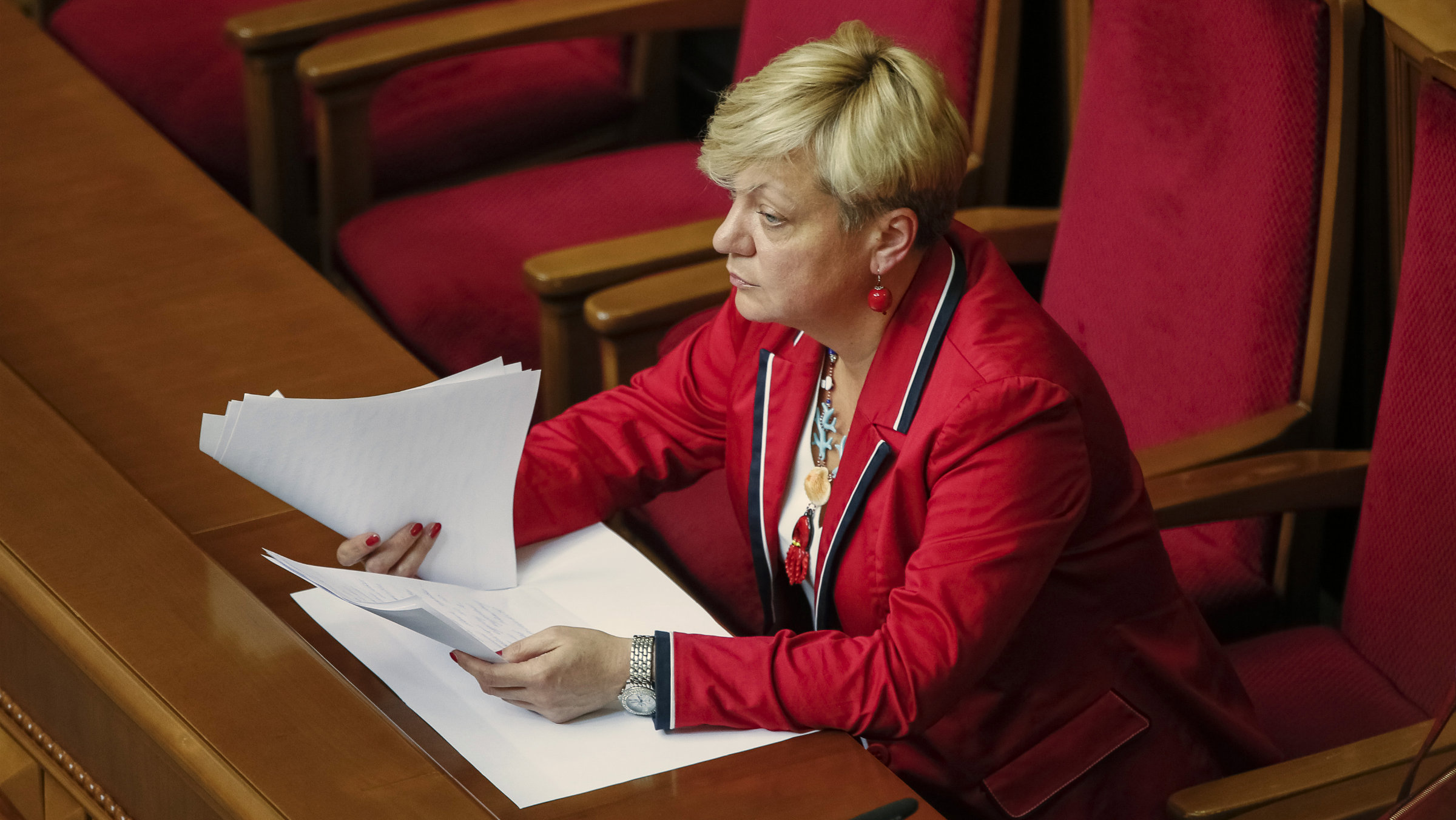 The head of the central bank Valeria Gontareva attends a session of parliament in Kiev.