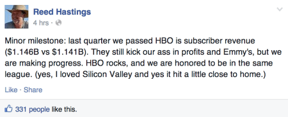 Reed Hastings on Facebook