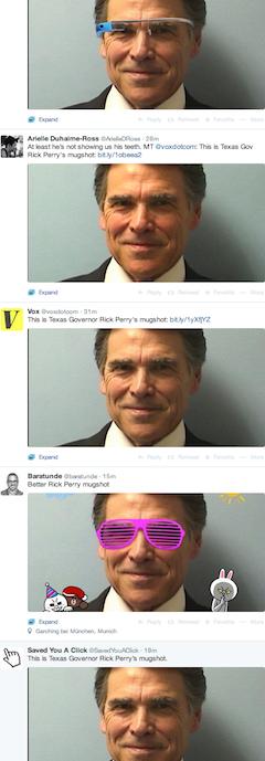 Rick Perry mugshot on Twitter